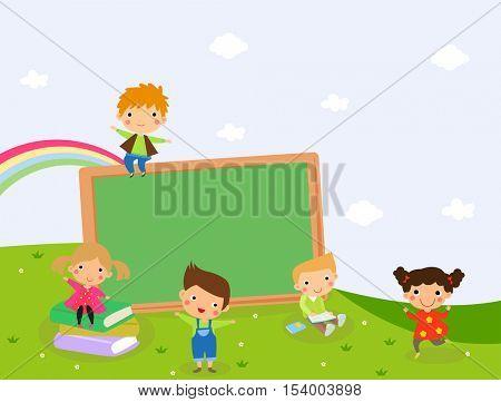 children and blackboard