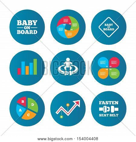 Business pie chart. Growth curve. Presentation buttons. Baby on board icons. Infant caution signs. Fasten seat belt symbol. Data analysis. Vector