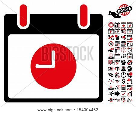 Clock Calendar Day icon with bonus calendar and time management pictograms. Glyph illustration style is flat iconic symbols, intensive red and black, white background.