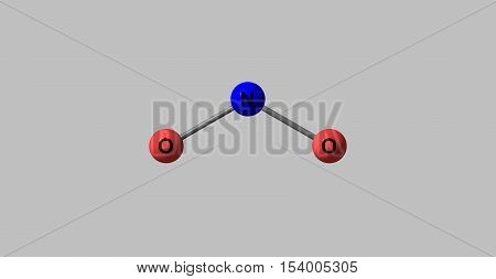 Nitrogen dioxide is the chemical compound with the formula NO2. Nitrogen dioxide is an air pollutant. 3d illustration