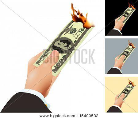 Burning dollar. Vector concept.