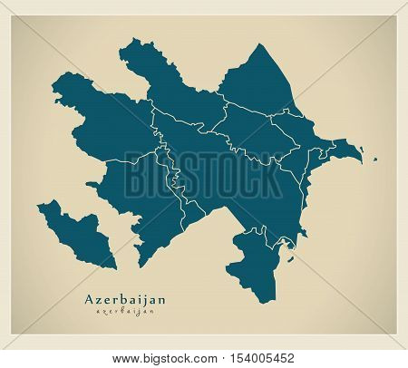 Modern Map - Azerbaijan with regions AZ vector