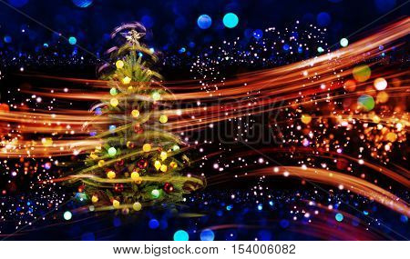 Snow Covered Christmas Tree with Multi Colored Lights at Night.
