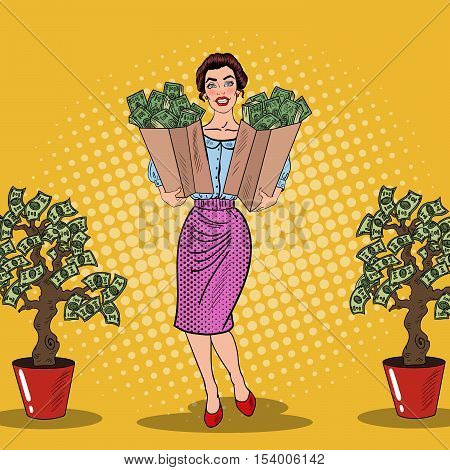 Pop Art Happy Rich Woman Holding Bags with Money from Money Tree. Vector illustration