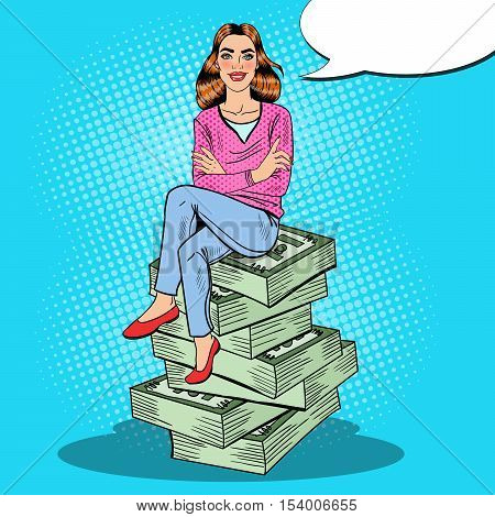 Pop Art Young Rich Woman Sitting on a Stack of Money. Vector illustration