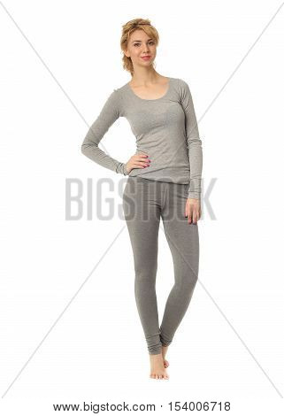 Happy And Smiling Woman In Cotton Pajamas Isolated