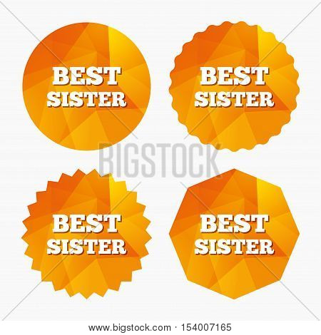 Best sister sign icon. Award symbol. Triangular low poly buttons with flat icon. Vector