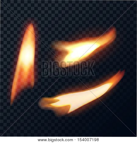 Candle fire direct and inclined. Tongues of flame on a transparent background. Realistic burning. Vector illustration.