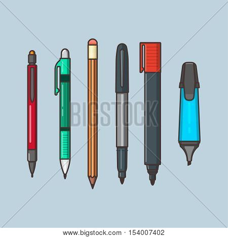 A vector set of the writing objects. Pencils with eraser a pen markers in linear flat style. Office and school supplies on the blue isolated background.
