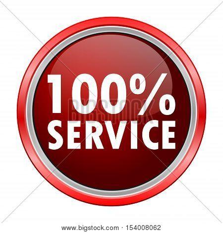 100% Service round metallic red button, vector icon