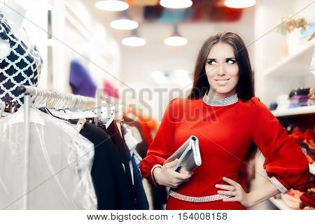 Fancy Elegant Woman with Silver Clutch Bag Shopping