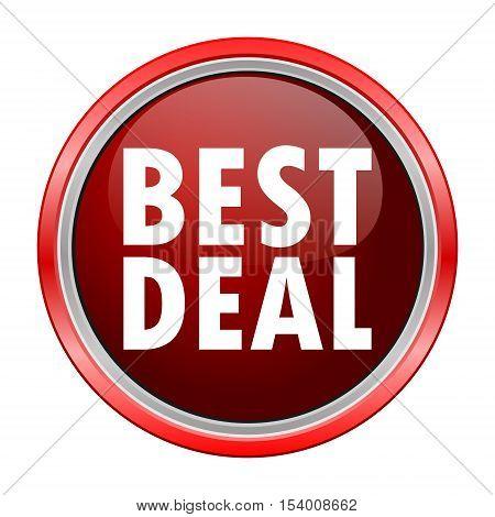 Best Deal round metallic red button, vector icon