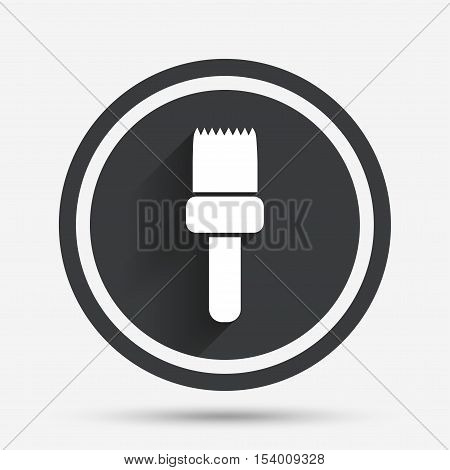 Paint brush sign icon. Artist symbol. Circle flat button with shadow and border. Vector