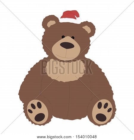 Icon color Christmas Teddy bear in Santa hat on white background. template for decoration or design. Vector illustration