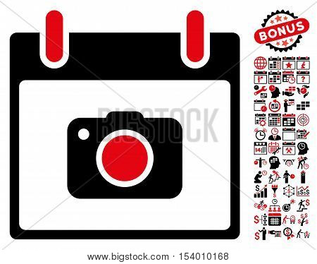 Photo Camera Calendar Day pictograph with bonus calendar and time management images. Glyph illustration style is flat iconic symbols, intensive red and black, white background.