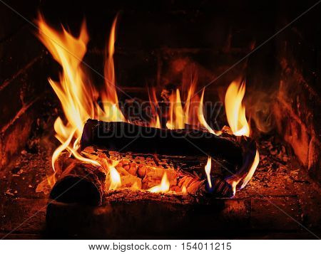 Fireplace with birch firewood and flame. Closeup. poster
