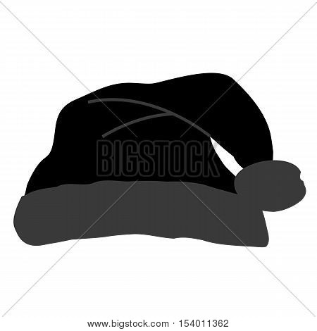 Icon black Santa hat with a pompom on a white background. Pattern for decoration or design. Vector illustration