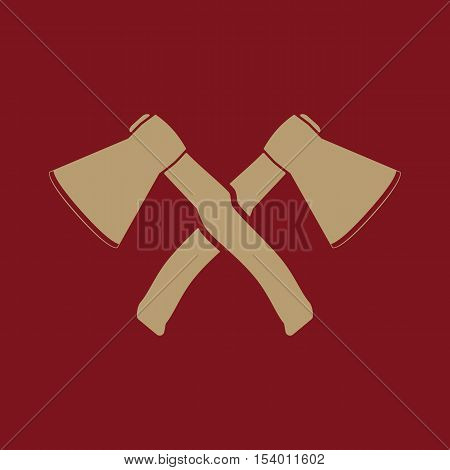 The crossed axes icon. Axe and hack symbol. Flat Vector illustration