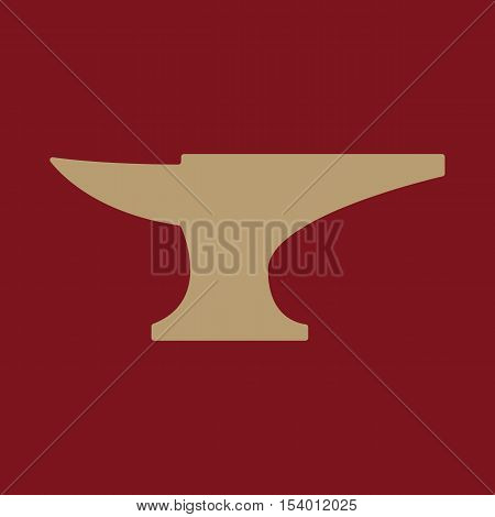 The anvil icon. Smith and forge, blacksmith symbol. Flat Vector illustration