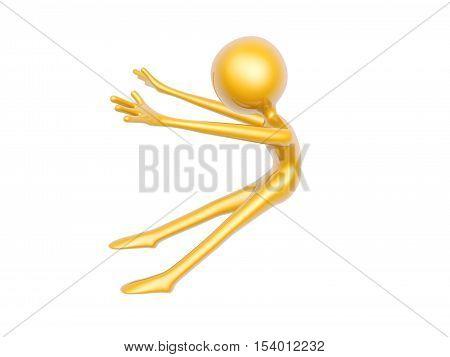 golden kungfu guy fall back pose isolated on white background 3d illustration