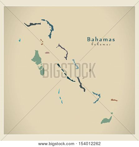 Modern Map - Bahamas with districts colored BS vector high res