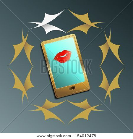 Smartphone with women's lips on the screen and in a frame of leaves symbolizing Posts