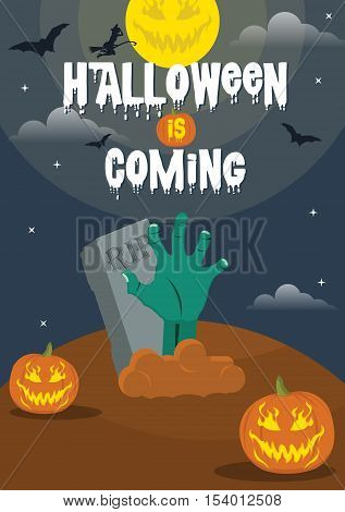 Halloween is coming party poster with zombie hand, pumpkin, bat, wicked, and grave. Halloween design elements vector.