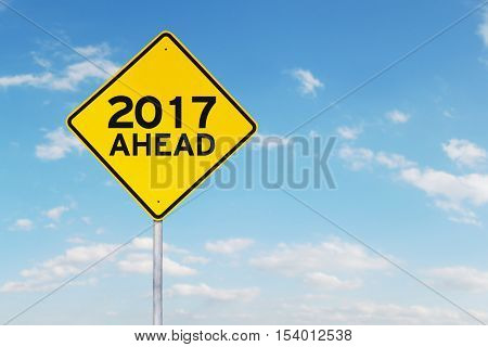 Yellow 2017 and ahead road sign or street sign isolated on sky background