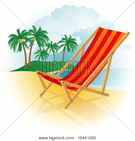 Chaise lounge on a beach. Vector.