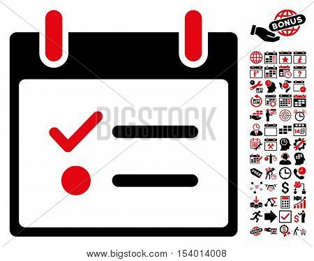 Todo List Calendar Day pictograph with bonus calendar and time management icon set. Glyph illustration style is flat iconic symbols, intensive red and black, white background.