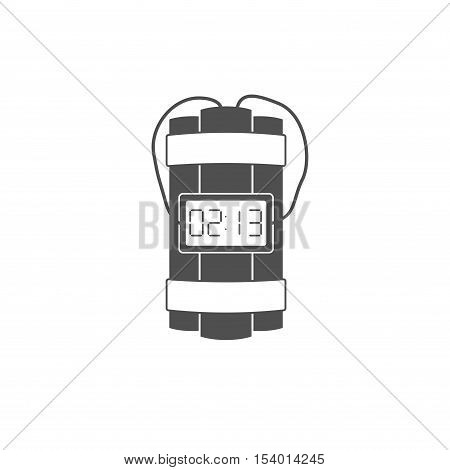 Dynamite bomb explosion icon with timer detonate and wire isolated on white background.