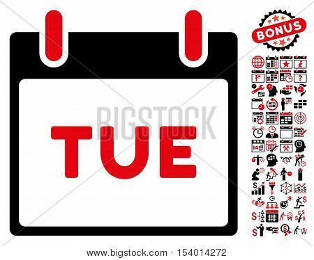 Tuesday Calendar Page icon with bonus calendar and time management graphic icons. Glyph illustration style is flat iconic symbols, intensive red and black, white background.