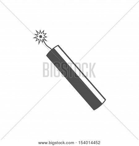 Dynamite bomb explosion icon with burning wick detonate isolated on white background.