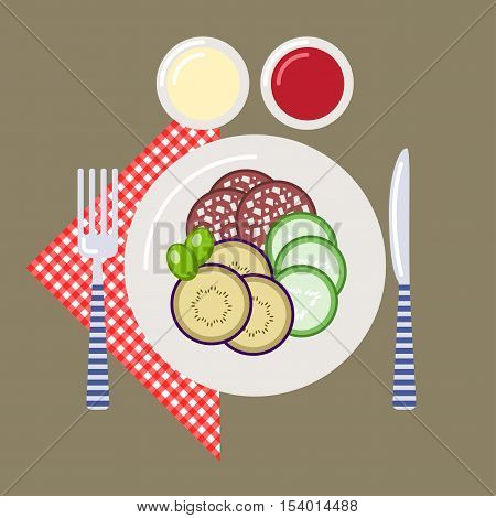Picnic time nature outdoor recreation napkin plate knife fork sauce ketchup sausage cucumber eggplant olives breakfast. Vector illustration. Grouped for easy editing.