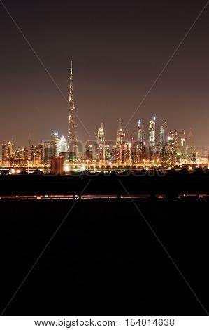 Dubai skyline at night from Meydan, United Arab Emirates