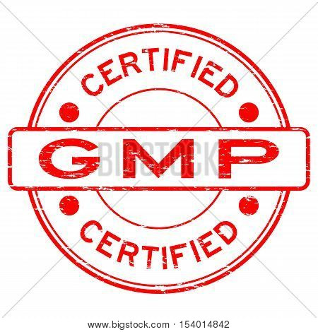 Grunge red GMP (Good Manufacturing Practice) certified rubber stamp