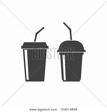Plastic cups icon isolated on white background. Drink, juice or smoothies cups icons in flan style