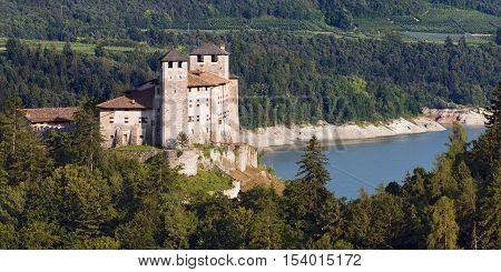 Castel Cles (Castle Cles XII century) and the Santa Giustina lake in Val di Non (Non valley) Cles Trentino Alto Adige Italy