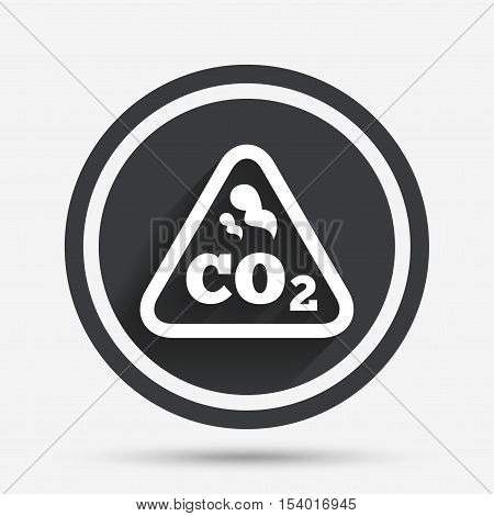 CO2 carbon dioxide formula sign icon. Chemistry symbol. Circle flat button with shadow and border. Vector