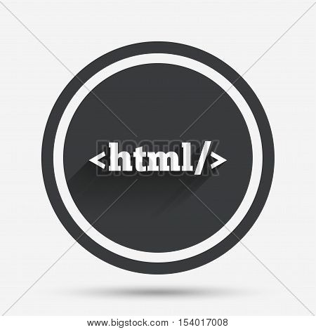 HTML sign icon. Markup language symbol. Circle flat button with shadow and border. Vector