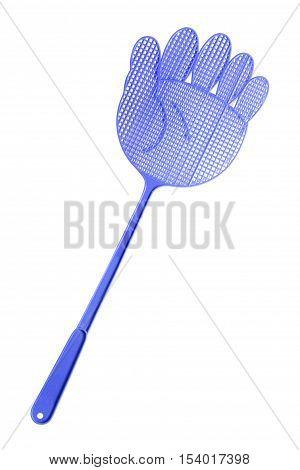 Blue Flyswatter isolated on white background .
