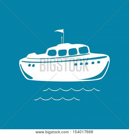 Lifeboat Isolated on Blue Background, Marine Rescue Vessel ,Vector Illustration