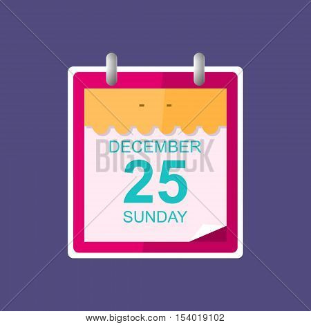 Calendar Leaf Isolated on Purple Background ,Merry Christmas, December 25 ,Vector Illustration