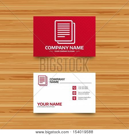 Business card template. Copy file sign icon. Duplicate document symbol. Phone, globe and pointer icons. Visiting card design. Vector