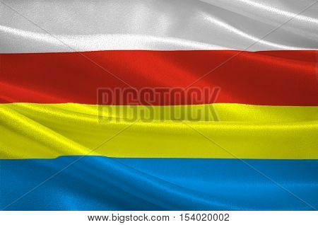Flag of Podlaskie Voivodeship in northeastern Poland. 3d illustration