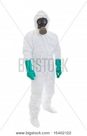 Man in protective clothing and a gasmask on a white background poster