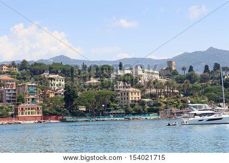 Townscape Of Santa Margherita Ligure And Mediterranean Sea, Italy