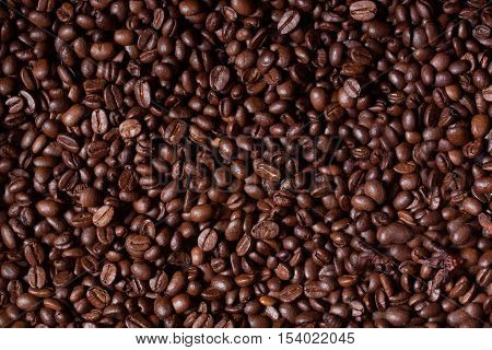 whole coffee beans background, brown coffee beans