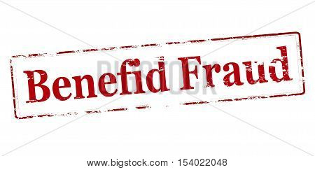 Rubber stamp with text benefid fraud inside vector illustration