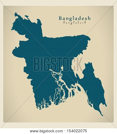 Modern Map - Bangladesh BD illustration vector